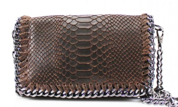 Chain Snake Dark Brown Leather Clutch Bag