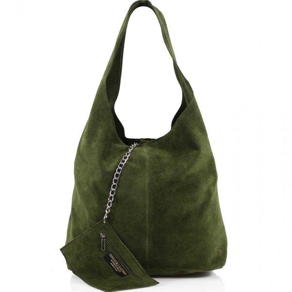 Army Green Suede Shoulder Bag