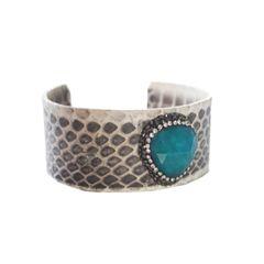 Teal Silver Semi Precious Crystal Edged Cuff Bracelet