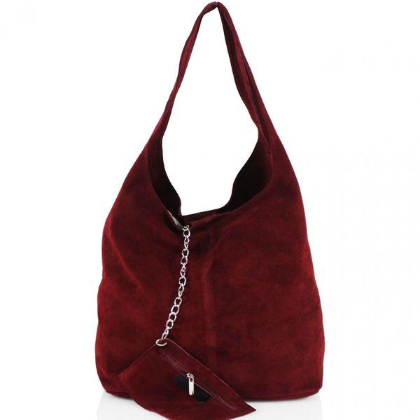 Burgundy Suede Shoulder Bag
