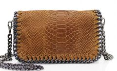 Chain Snake Brown Leather Clutch Bag