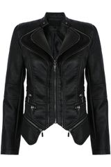 Black PU Double Collar Silver Zip Jacket