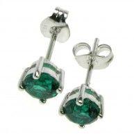 Emerald Round Stud Earrings