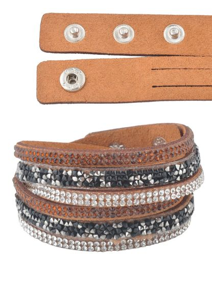Brown Faux Suede Sparkle Wrap