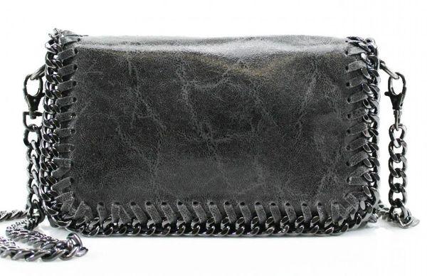 Chain Trim Dark Grey Leather Clutch Bag