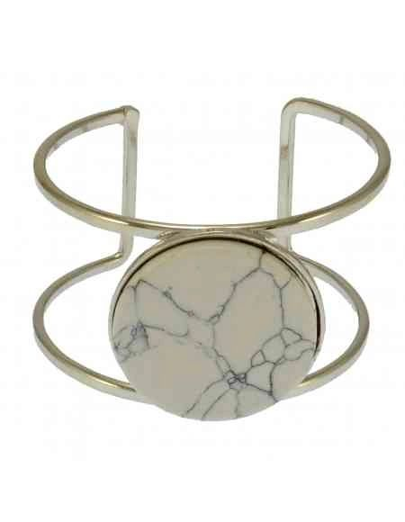 Ukwenza Enamelled White Howlite Style Metal Cuff