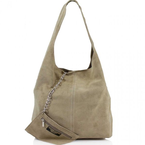 Taupe Suede Shoulder Bag