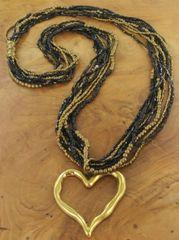 Black & Bronze Gold Beaded Heart Necklace