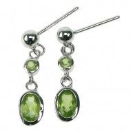 Peridot Oval and Round Silver Ball Stud Earrings