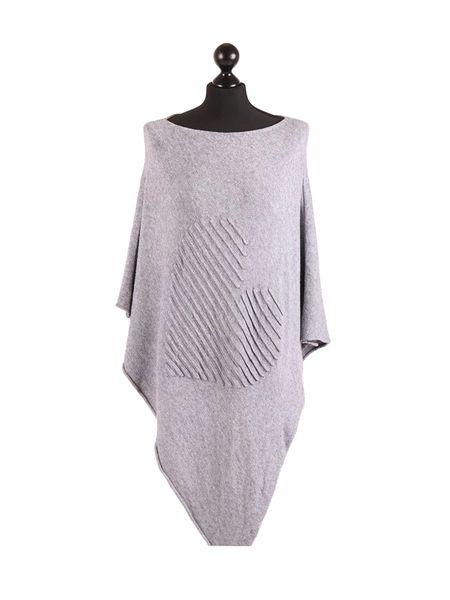 Italian Grey Knitted Heart Poncho