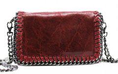 Chain Trim Burgundy Leather Clutch Bag