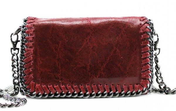 Chain Trim Burgundy Leather Clutch Bag