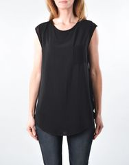 Black Sleeveless Top with Pocket Detail