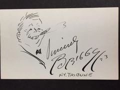 CLARE BRIGGS SIGNED SELF CARICATURE BY AMERICAN CARTOONIST OF THE COMIC STRIP A PIKER CLERK