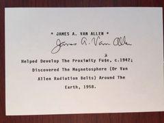 JAMES A. VAN ALLEN SIGNED CARD AM SPACE SCIENTIST VAN ALLEN RADIATION BELTS