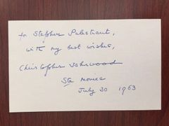 CHRISTOPHER ISHERWOOD HANDWRITTEN NOTE SIGNED BY AUTHOR SENDING HIS AUTOGRAPH