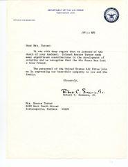 AIR FORCE & NASA: ROBERT C. SEAMANS, JR. TYPED LTR SIGNED REGARDING DEATH OF AM AVIATOR ROSCOE TURNER