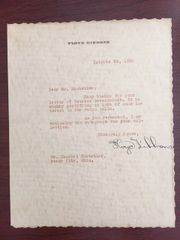 FLOYD GIBBONS SIGNED LETTER BY WWI WAR CORRESPONDENT & RADIO COMMENTATOR