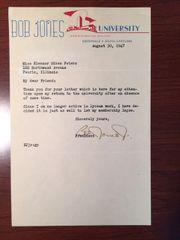 BOB JONES JR. SIGNED LETTER BY FUNDAMENTALIST PRESIDENT OF BOB JONES UNIVERSITY 1947-71