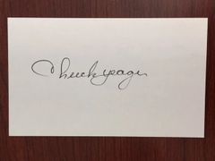 CHUCK YEAGER SIGNED CARD PILOT 1ST TO BREAK SOUND BARRIER