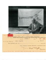 FRANK LLOYD WRIGHT HAND SIGNED CHECK TO HIS SPRING GREEN, WI FARM MANAGER