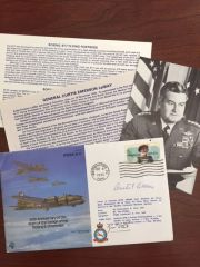 CURTIS LE MAY SIGNED FIRST DAY COVER WWII BOEING B 17 FORTRESS WITH PHOTO