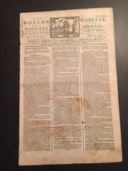 U.S. CONSTITUTION AND BILL OF RIGHTS RATIFIED BY RHODE ISLAND, HISTORIC NEWSPAPER, FULL FRONT PAGE ARTICLE, THE BOSTON GAZETTE, 1790, 4 PAGES,