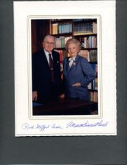 NORMAN VINCENT PEALE SIGNED COLOR PHOTO THAT IS ALSO SIGNED BY HIS WIFE RUTH STAFFORD PEALE