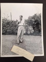 BYRON NELSON SIGNED SLIP & VINTAGE 1945 SEPIA PHOTO PGA GOLF