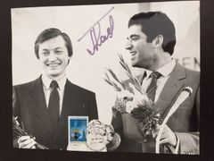 ANATOLY KARPOV SIGNED PHOTO WITH KASPAROV 1984 MOSCOW WORLD CHESS CHAMPIONSHIP