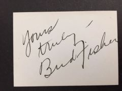 BUD FISHER SIGNED CARD BY CARTOONIST CREATOR OF EARLY STRIP MUTT & JEFF
