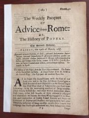 THE WEEKLY PACQUET OF ADVICE FROM ROME DATED 1679 A FORGED LTR FROM ST. PETER