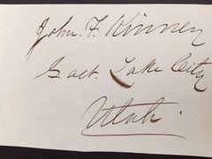 JOHN F. KINNEY SIGNED UTAH JUDGE WHO PRESIDED LATTER DAY SAINT TRIAL OF MORRISITE WAR MORMONS