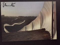 CHRISTO SIGNED OFFSET LITHO WITH JEANNE-CLAUDE HANDWRITTEN NOTE SIGNED RUNNING FENCE