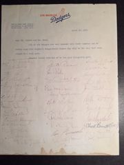1963 LOS ANGELES DODGERS TEAM SIGNED LETTER BY 38 MEMBERS OF WORLD SERIES WINNERS