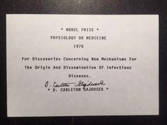 D. CARLETON GAJDUSEK SIGNATURE WINNER NOBEL PRIZE 1976 PHYSIOLOGY OR MEDICINE