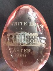 BILL AND HILLARY CLINTON OFFICIAL 1996 WHITE HOUSE GLASS EASTER EGG