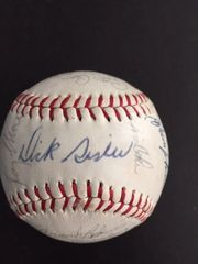 1965 CINCINNATI REDS TEAM SIGNED BALL WITH 30 SIGNATURES: ROBINSON, PINSON, MALONEY, ROSE, PEREZ, SISSLER