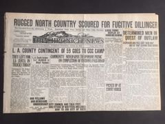 JOHN DILLINGER FRONT PAGE HEADLINE IN COLORADO THE CHRONICLE-NEWS: RUGGED NORTH COUNTRY SCOURED FOR FUGITIVE DILLINGER