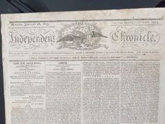 THOMAS JEFFERSON, SIGNS, IN TYPE, FOUR TIMES ON THE FRONT PAGE OF THIS HISTORIC NEWSPAPER THAT COVERS THE ESTABLISHMENT OF MICHIGAN, THE BUILDING OF U. S. CAPITOL BUILDING AND SLAVERY IN VIRGINIA