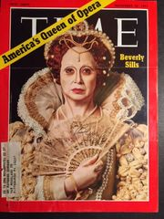 BEVERLY SILLS SIGNED TIME MAGAZINE COVER PHOTO AS QUEEN ELIZABETH 1 IN ROBERTO DEVEREUX BY OPERATIC SOPRANO