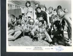 ANNETTE FUNICELLO SIGNED BEACH BLANKET BINGO VINTAGE, 10 X 8, 1965 AMERICAN INTERNATIONAL CAST PRESS PHOTO