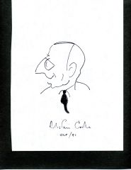 ALISTAIR COOKE SIGNED ORIGINAL SELF-CARICATURE OF HOST PBS MASTERPIECE THEATRE
