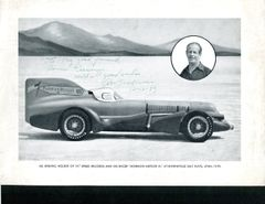 AB JENKINS SIGNED AND INSCRIBED MORMON METEOR III PHOTO, 1939, AT BONNEVILLE SALT FLATS, UT, TO AMERICAN AVIATION PIONEER ROSCOE TURNER