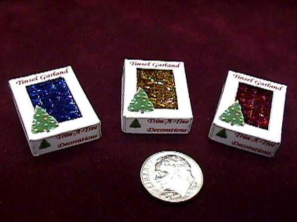 Dollhouse miniature trim a tree christmas tinsel garland box