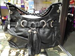 Black Fringe Purse with Braided Handle #2430