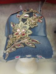 Denim Cap with Flowers #3062