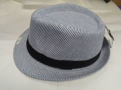 Navy and White Fedora #M12