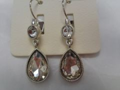 Clear Rhinestone Teardrop Earrings