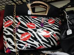 Black Zebra Print Purse with Lips